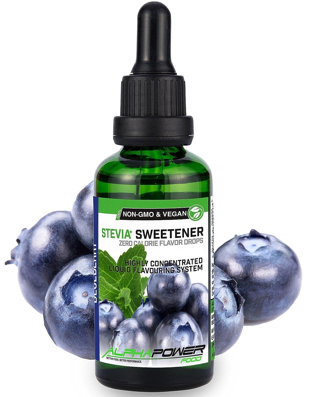 ALPHA POWER FOOD: Stevia líquida natural - Stevia Gotas de Arándano, Edulcorante natural, sustituto del azúcar con sabor - sin azúcar & calorías: Amazon.es: ...
