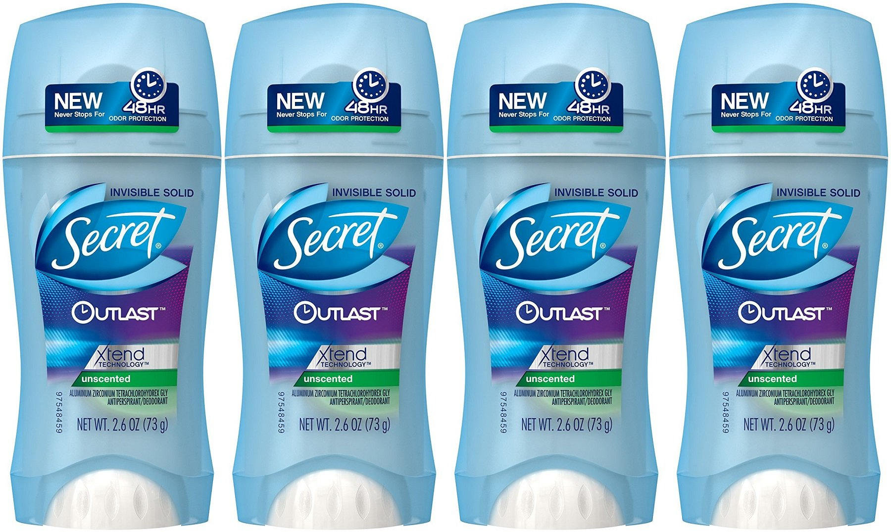 Secret Outlast Unscented Women's Invisible Solid Antiperspirant & Deodorant, 2.6 Oz (Pack of 4)