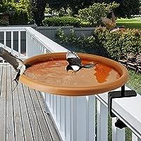 yosager Bird Bath Deck Bowl Spa Mount Bird Bath Unheated with Lightweight Detachable, Adjustable Heavy Duty Sturdy Steel…