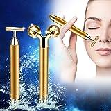 2 in 1 Jade Roller 3D Roller Beauty Bar Facial Massager Jade Facial Roller Massager 24k Golden Pulse Anti Aging Set…