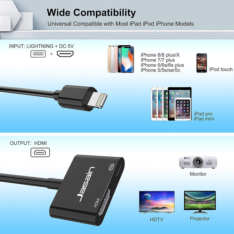 Jasain Adaptador Compatible con iPhone a HDMI, acoplador HDMI ...