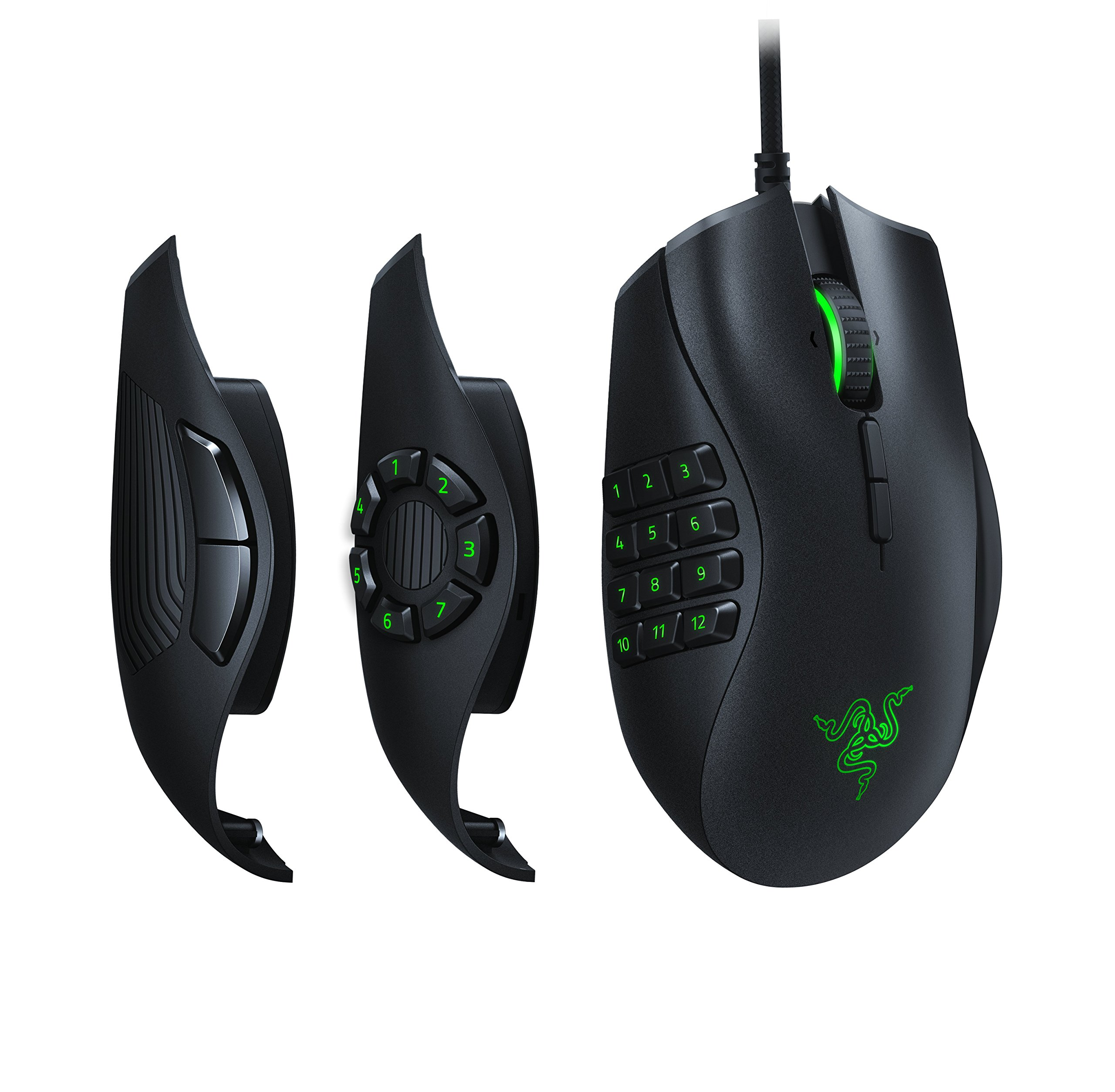 Razer Naga Trinity Gaming Mouse: 16,000 DPI Optical Sensor - Chroma RGB Lighting - Interchangeable Side Plate w/ 2, 7, 12 Button Configurations - Mechanical Switches by Razer