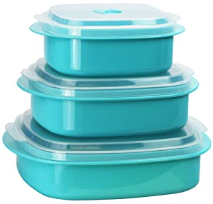 Calypso Basics by Reston Lloyd 6-Piece Microwave Cookware, Steamer and Storage Set, Turquoise