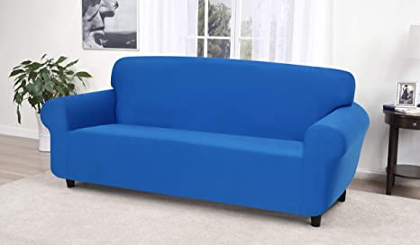 Madison Stretch Jersey Cobalt Blue Sofa Slipcover Solid Home Kitchen