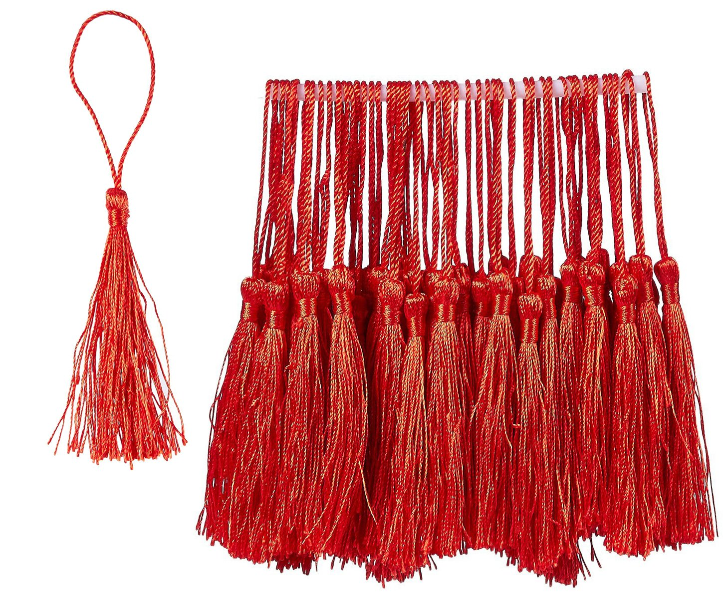 150-Pack Silky Floss Tassel Pendant with 2.3-inch Cord Loop 0.1 x 5.4 x 0.1 inches Bookmark Tassels Ideal for Handmade Craft Accessory Souvenir Burgundy Home Decoration DIY Jewelry Making