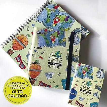 Pack Carpeblock A4 + Libreta A5 + Libreta A6 HappyMots: regalos originales, buenos deseos, frases bonitas. Con nuestros packs regalar es súper fácil!: Amazon.es: Oficina y papelería