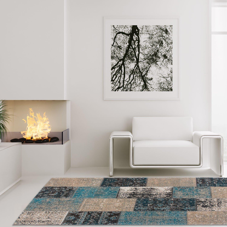 Lalee Teppich Hochwertig Wohnzimmer Cocoon Handgefertigt Patchwork Blau Beige Braun, Größe in cm 160 x 230 cm