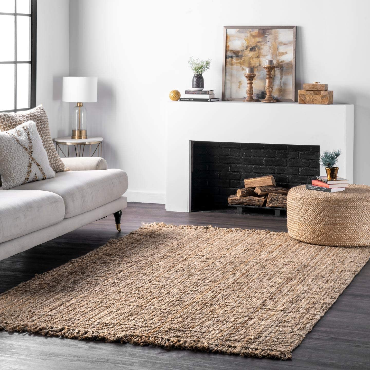 nuLOOM Hand Woven Chunky Natural Jute Farmhouse Area Rug