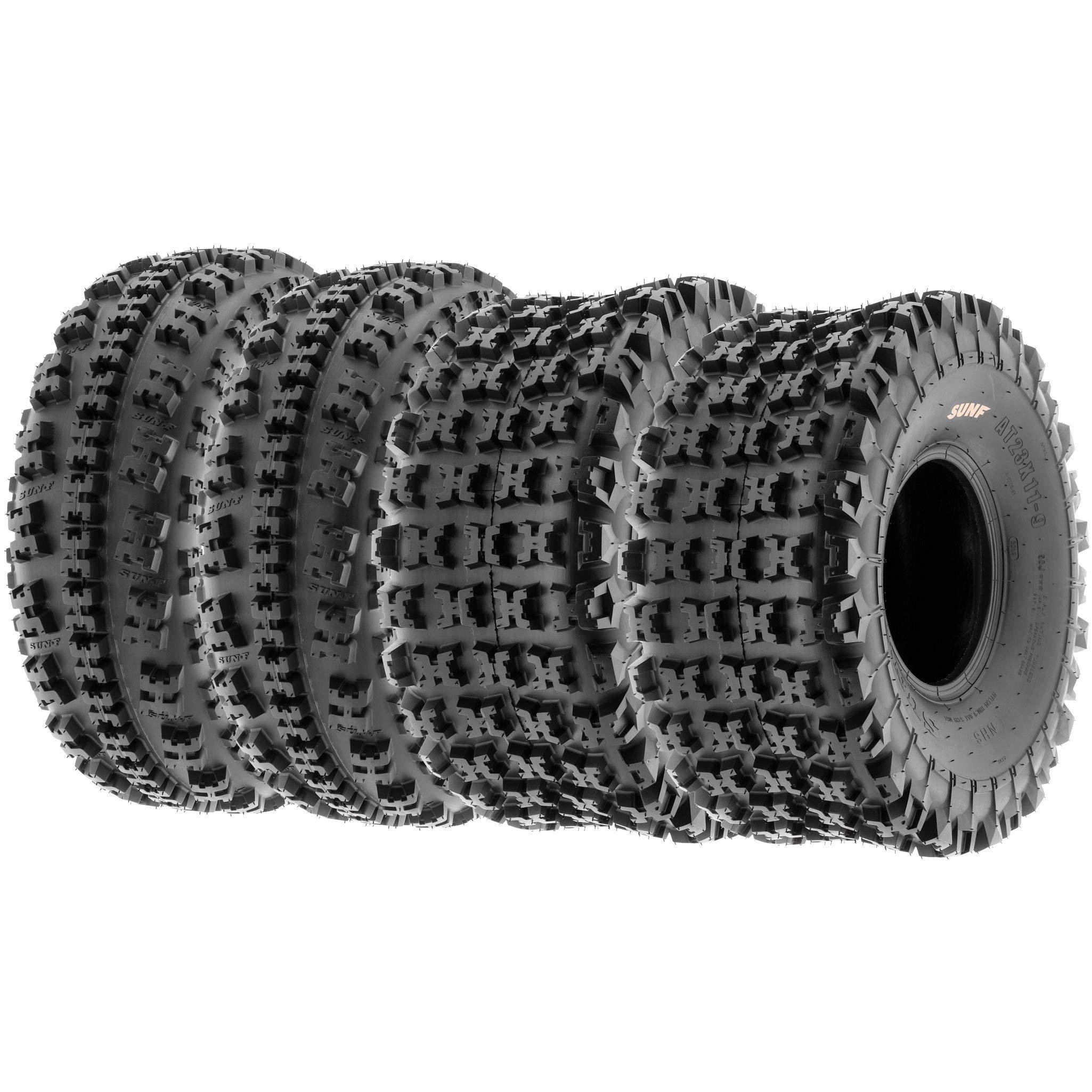 Set of 4 SunF A027 XC 19x7-8 Front & 20x10-10 Rear ATV UTV Knobby Sport Tires, 6 PR, Tubeless