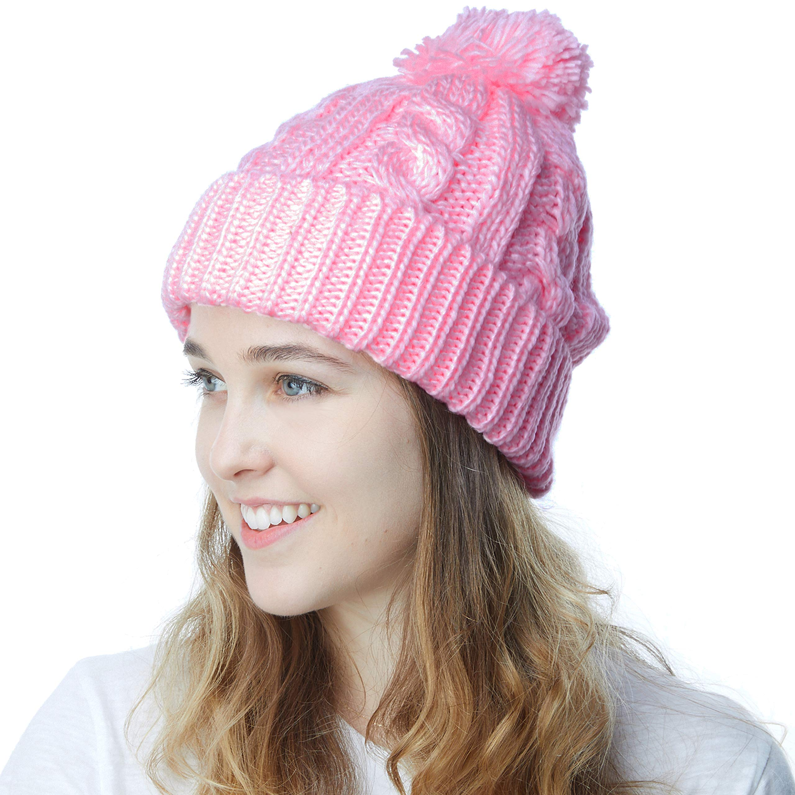 25a85504f6 THE HAT DEPOT Winter Oversized Cable Knitted Pom Pom Beanie Hat Fleece  Lining Hat product image