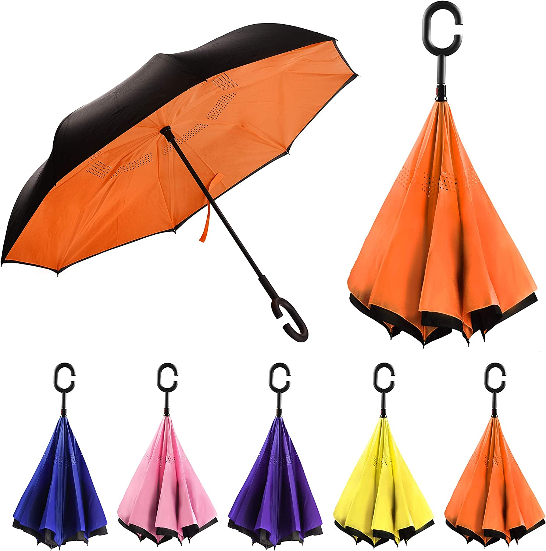Demon Slayer Kimetsu No Yaiba Car Reverse Umbrella Windproof And Rainproof Double Folding Inverted Umbrella With C-Shaped Handle UV Protection Inverted Folding Umbrellas