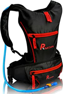 Top Rated Hydration Pack with FREE Waist Pack & 2 Liter Hydration Bladder by RiskbekTM. Best Hydration Backpack for Hiking, Running, Biking - Fits Men, Women and Kids perfectly!