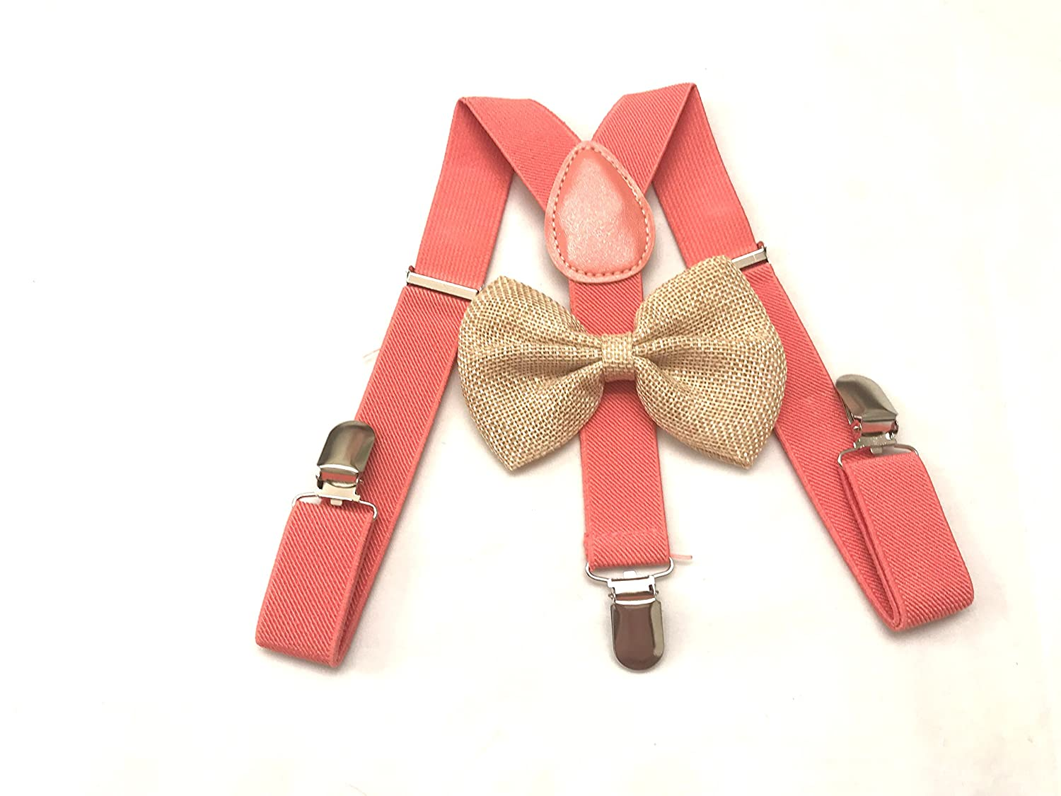 Coral Suspenders and bow tie Kids boys babys