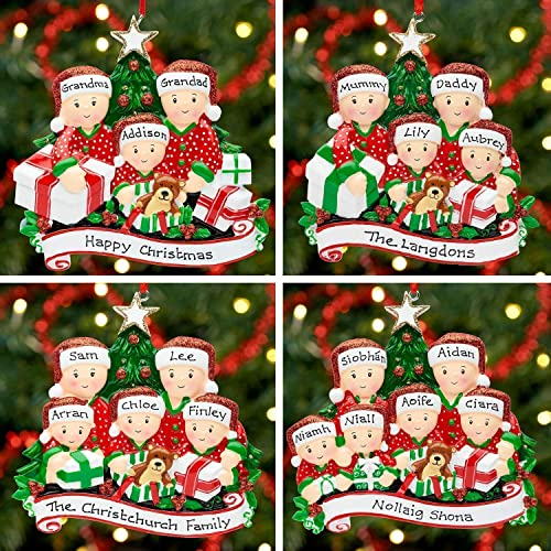 Opening Presents Family of 6 Ornament Personalised Christmas Bauble Decoration