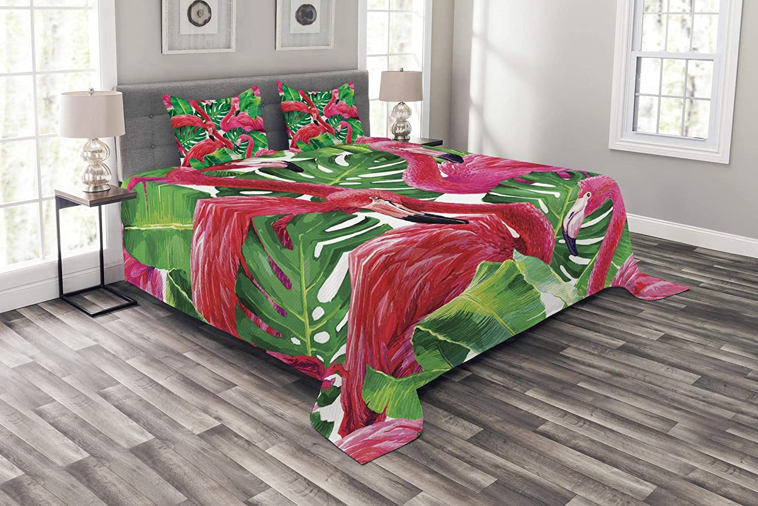 Bedspread Set with 2 Shams Decorative by Ambesonne Printed 3 Piece