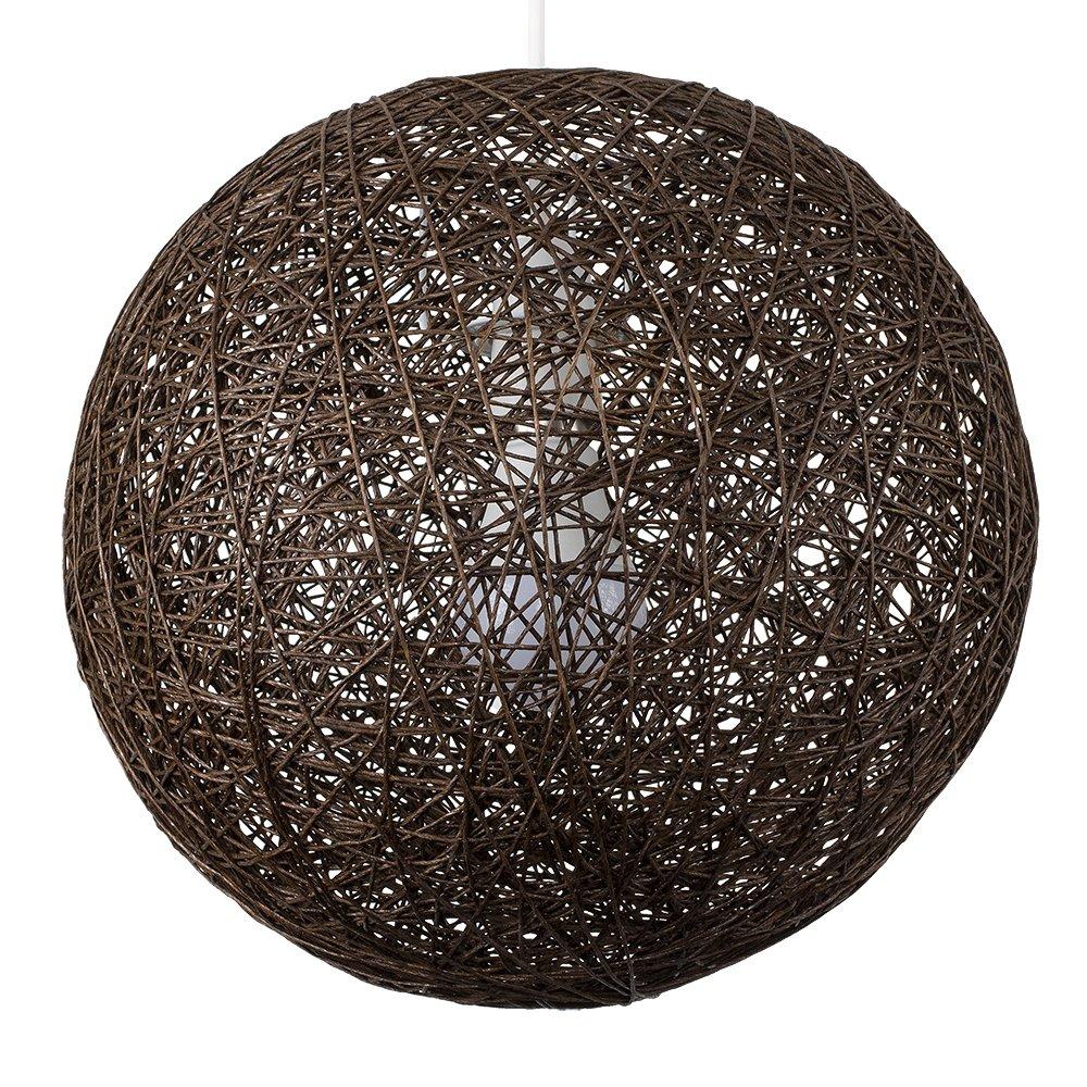 Modern Medium Cream Lattice Wicker Rattan Globe Ball Style Ceiling Pendant Light Lampshade MiniSun