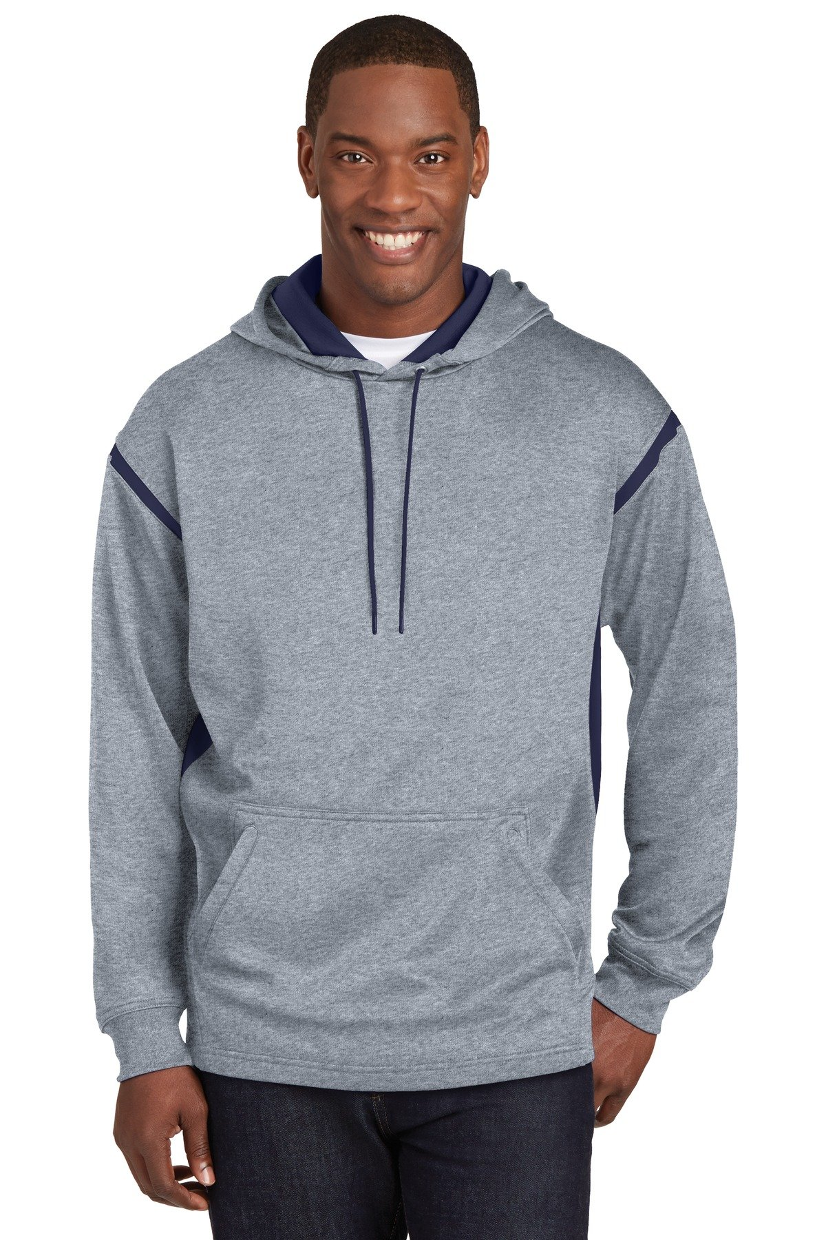 Sport-Tek Men's Tall Tech Fleece Colorblock Hooded LT Grey Heather/True Navy by Sport-Tek