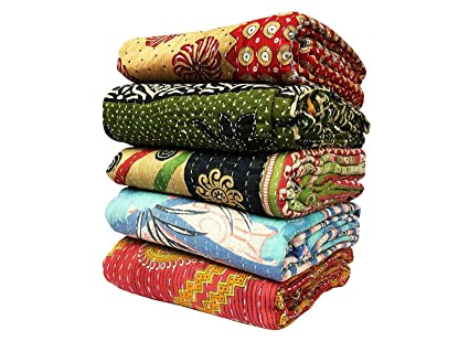 Handmade Vintage Kantha Quilts Reversible Cotton Throw Blanket Lot of 20 Pieces