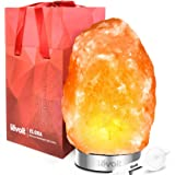 "Levoit Elora Himalayan Salt Lamp Hand Carved Natural Glow Pink Hymalain Salt Lamps(8-11 lbs,7.5-10"" Height): 18/8 Stainless Steel Base,Touch Brightness Dimmable Control,3 Bulbs,UL-Listed Cord and Luxury Gift Box"