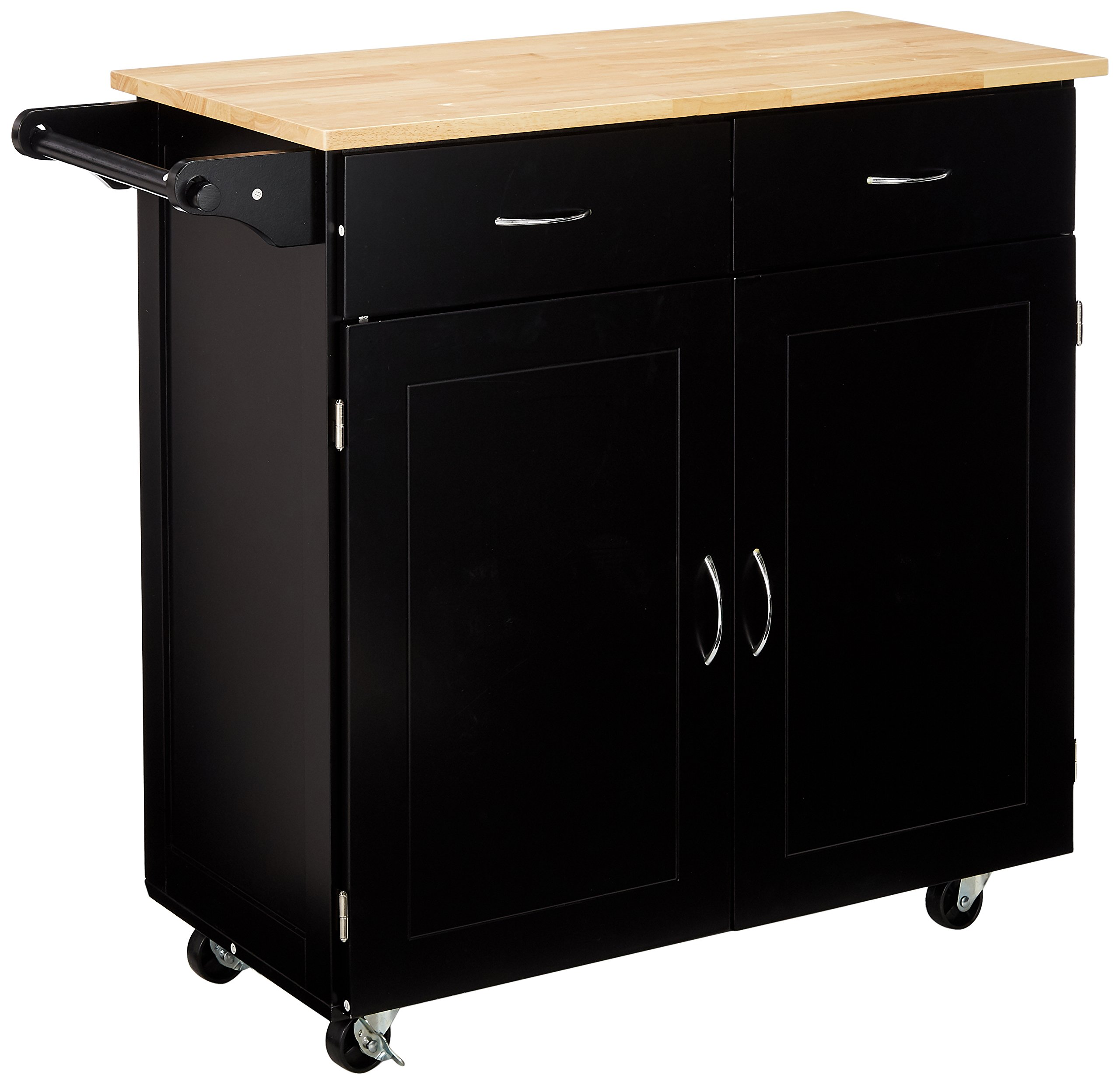Target Marketing Systems Large Rolling Kitchen Cart with 2 Drawers, 1 Cabinet & Towel Rack, with Wood Top, Black