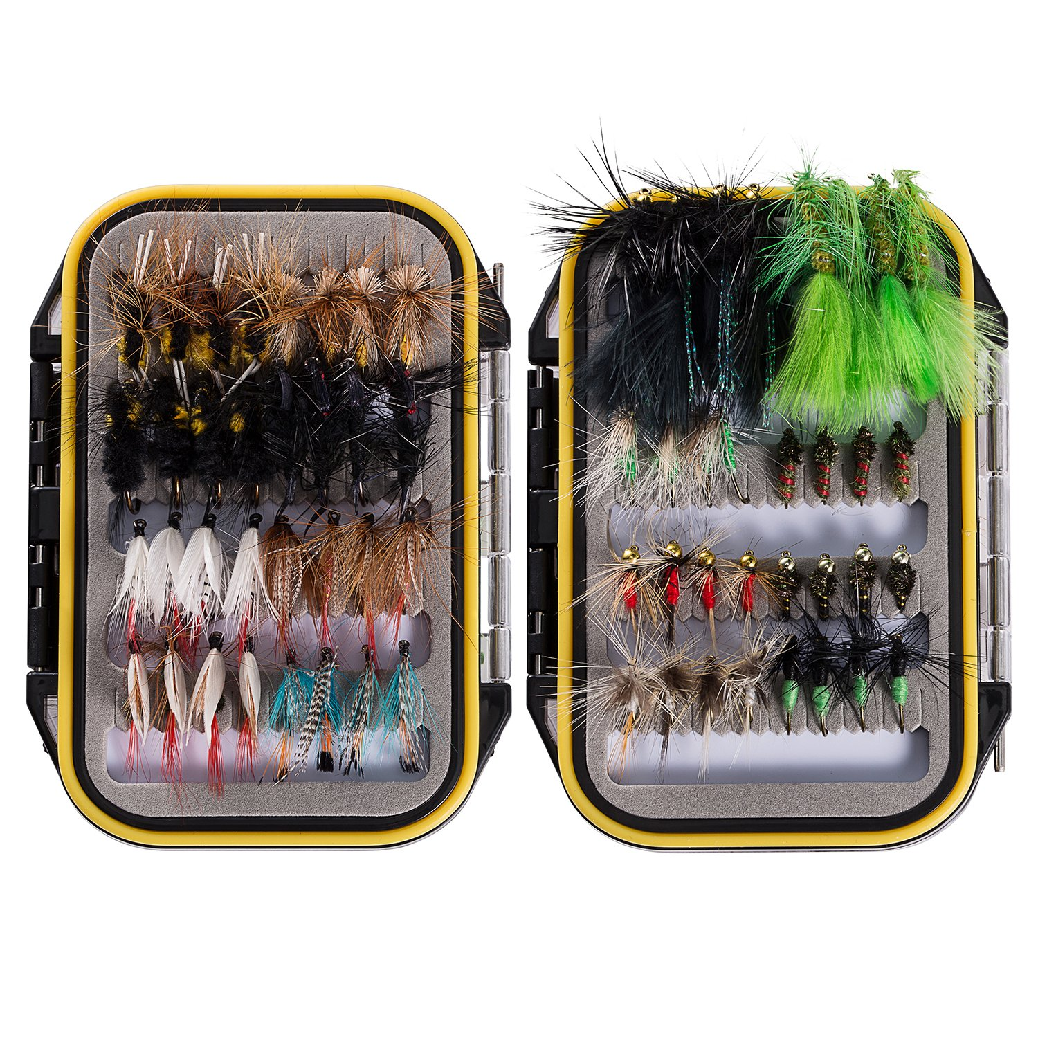 Bassdash Fly Fishing Assorted Flies Kit, Pack of 64 pcs Fly Lure Including Dry Flies, Wet Flies, Nymphs, Streamers, Terrestrials and More, with Double-Side Waterproof Fly Box by Bassdash