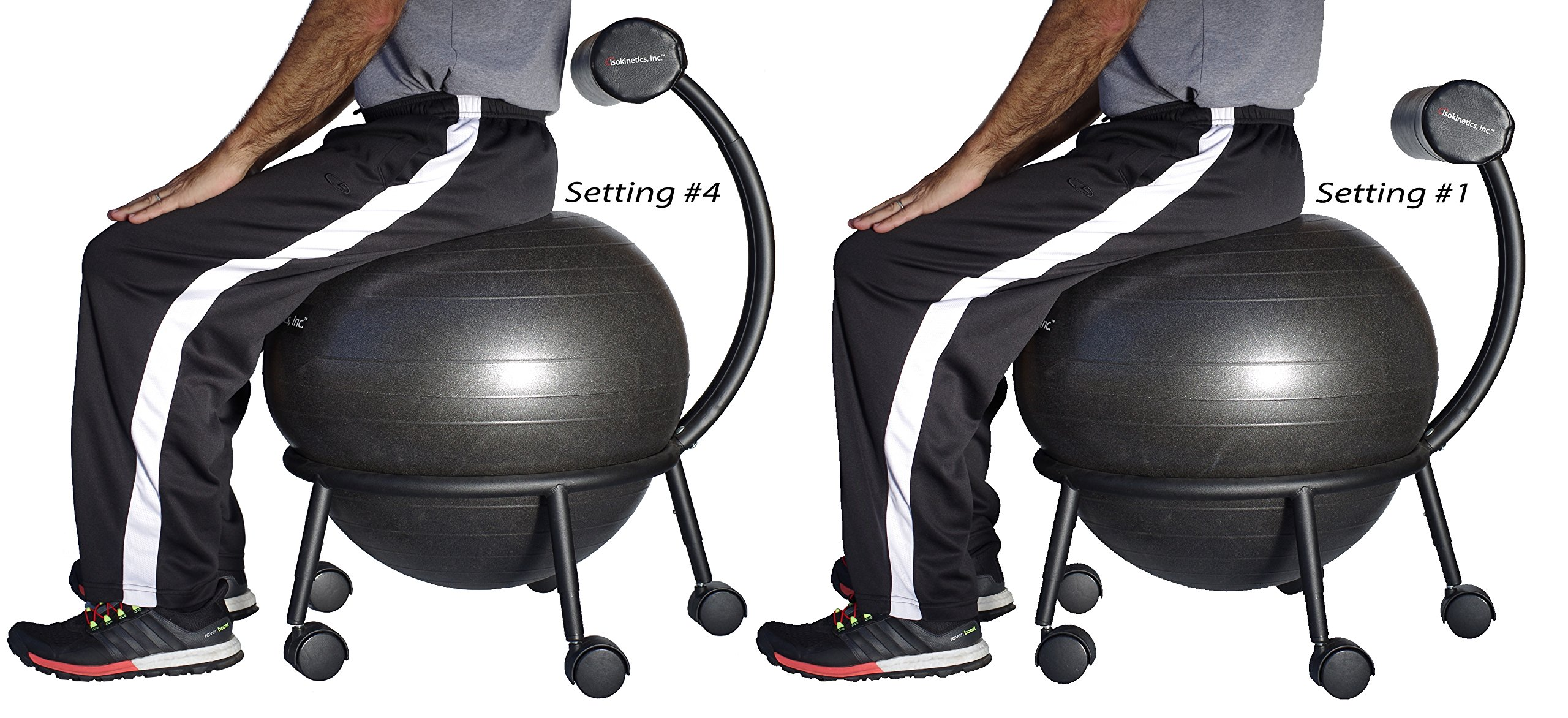 Isokinetics Inc. Brand Adjustable Fitness Ball Chair - Silver Flake on Black Metal Frame Finish - Exclusive: 60mm (2.5'') Wheels - Adjustable Base and Back Height - with Black 55cm Ball and a Pump by Isokinetics (Image #5)