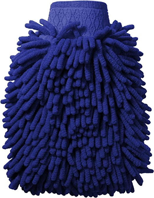 x1 iGadgitz Home U6842 Microfibre Noodle Car Wash Mitt Glove Double Sided Absorbent Washing Sponge Blue