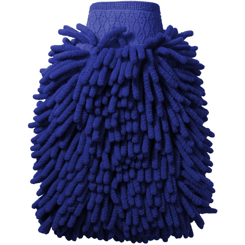igadgitz Home U6842 Microfibra Guante Limpieza Coche Manopla de Lavado Doble Cara Absorbente - Azul, x1