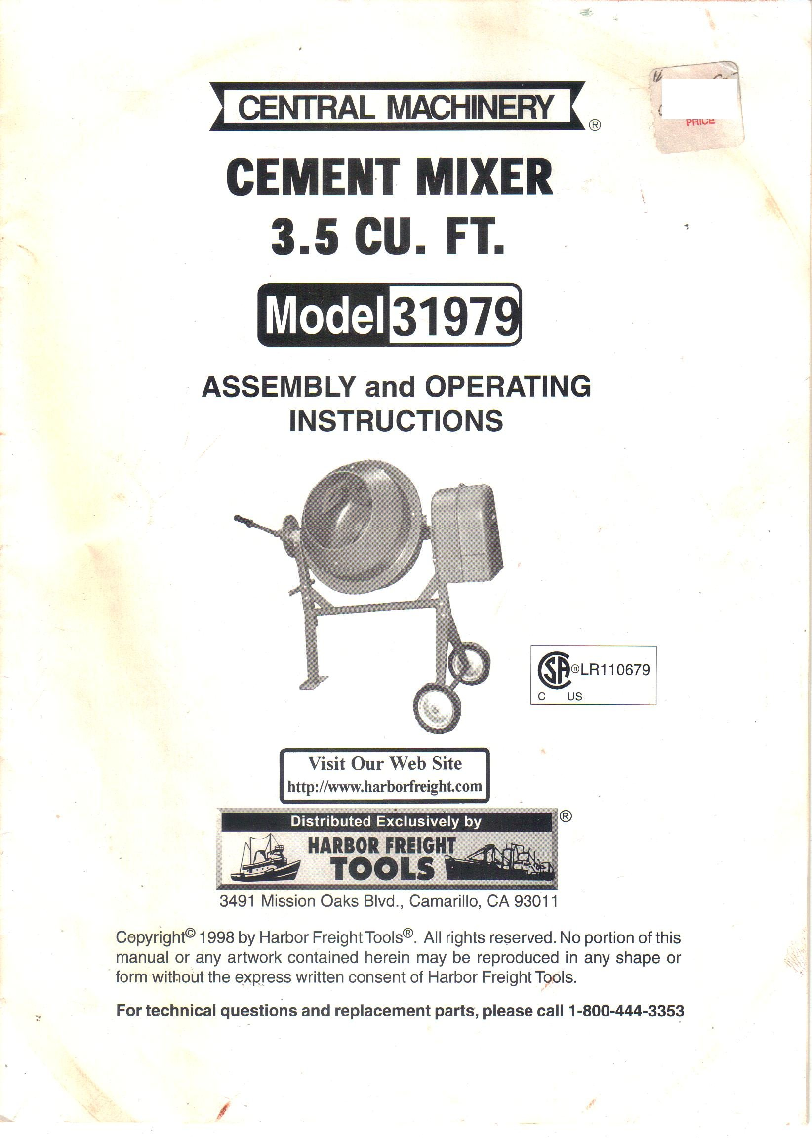 harbor freight tools central machinery cement mixer model 31979