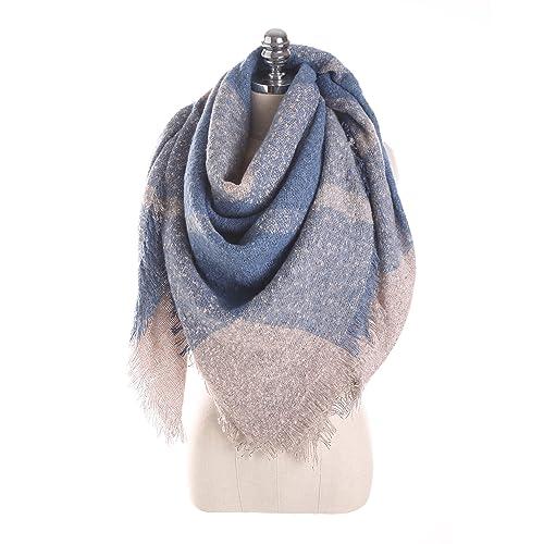 KAFEI Las mujeres chica Bufanda de rayas de otoño e invierno cálido grid-su-,236*130 cm.