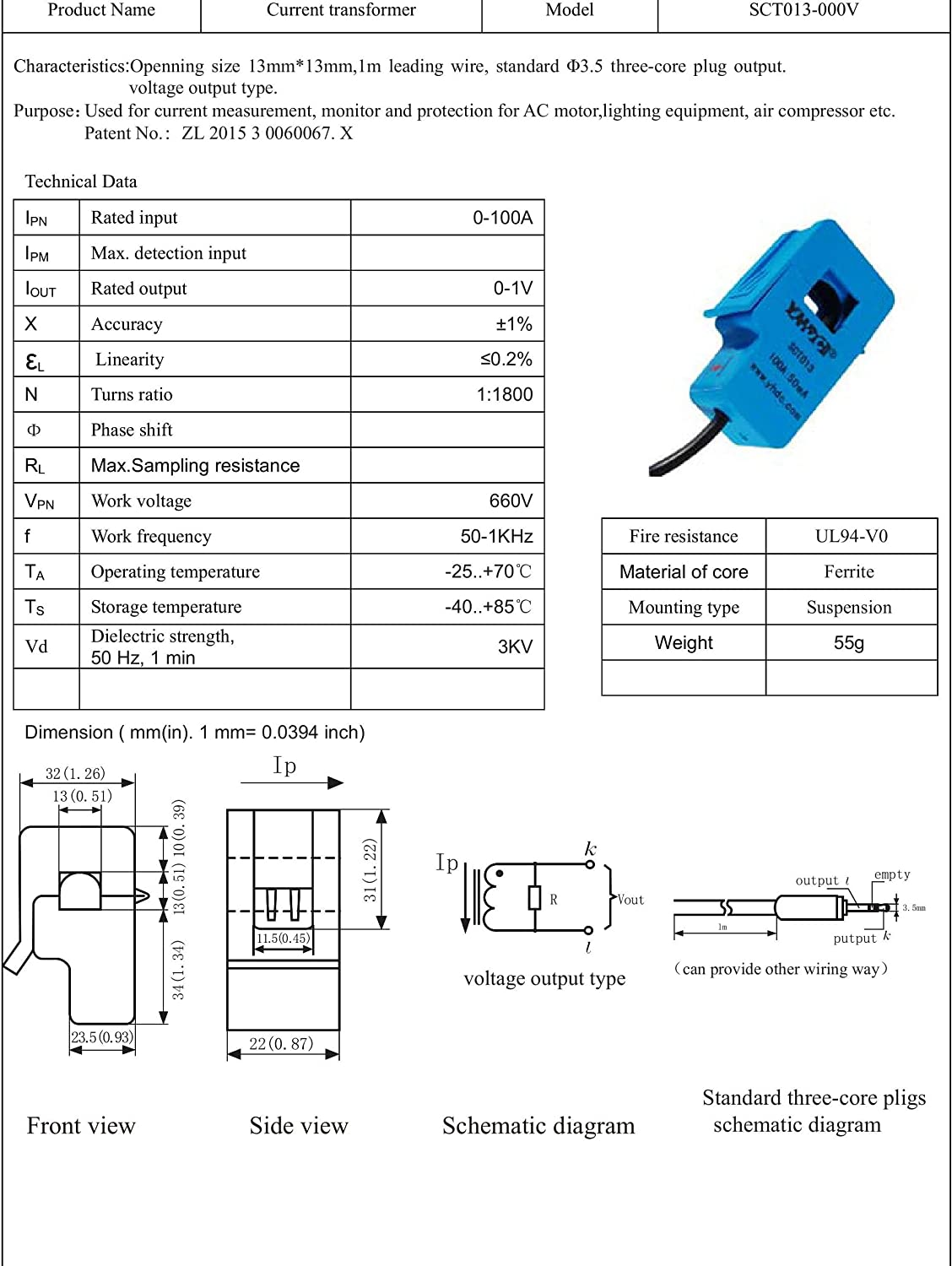 Useful for Measuring Whole Building Electricity Consumption Split Core Current Transformer,AC Current Sensor,Output Class Analog Sensor,Working Principle Magnetic Sensor in ZIYUN 50A MAX