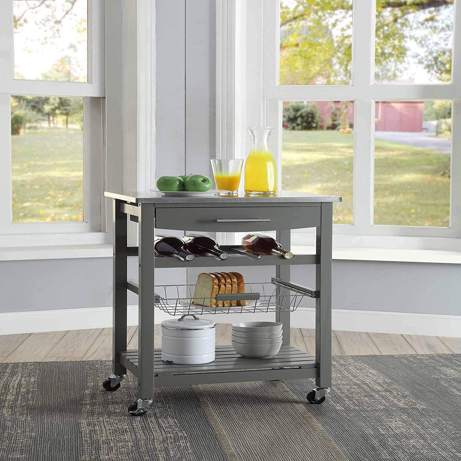 Linon Home D/écor Kitchen Cart Gray