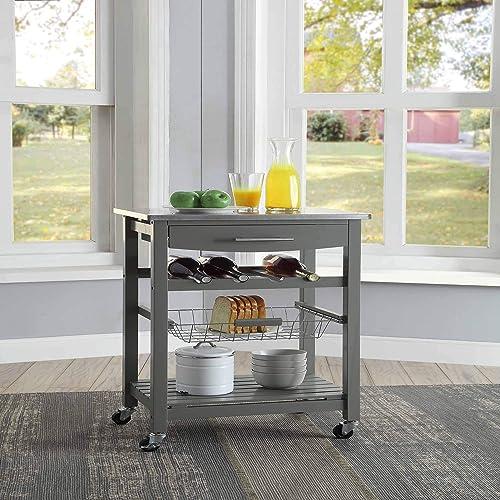 Linon Home D cor Kitchen Cart Gray