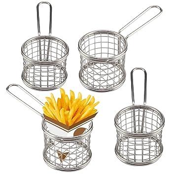 MultiWare juego de chips 4 cestos de Chip cromado cesta de la freidora sartén de cocina restaurante Food presentación cesta de servir redondo plata: ...