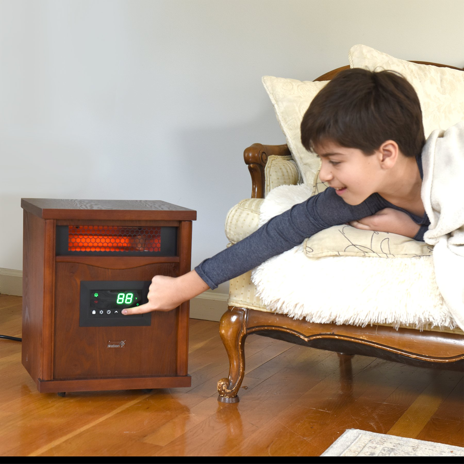 Ivation Portable Electric Space Heater, 1500-Watt 6-Element Infrared Quartz Mini Heater With Digital Thermostat, Remote Control, Timer & Filter by Ivation (Image #8)