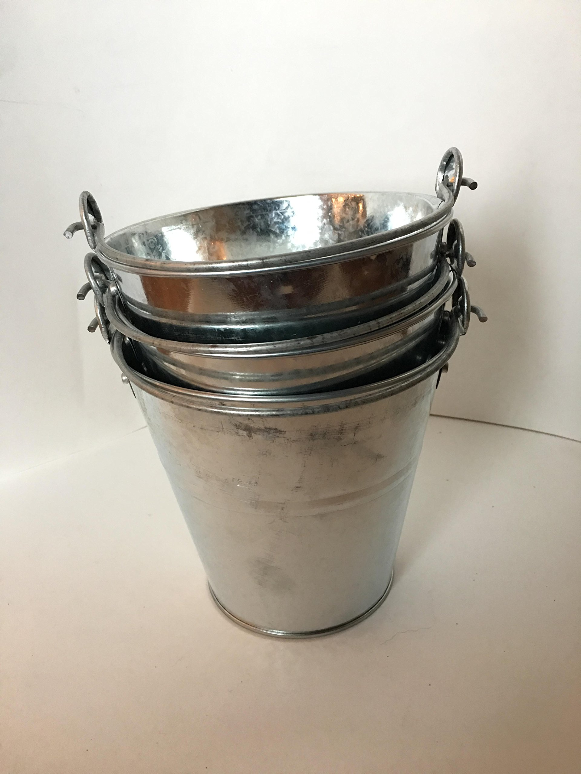10 LARGE Galvanized BUCKETS 6'' TALL 6.25'' WIDE AT TOP 4'' WIDE AT BOTTOM ARTS CRAFTS WEDDING by DIRECT IGNITER (Image #1)
