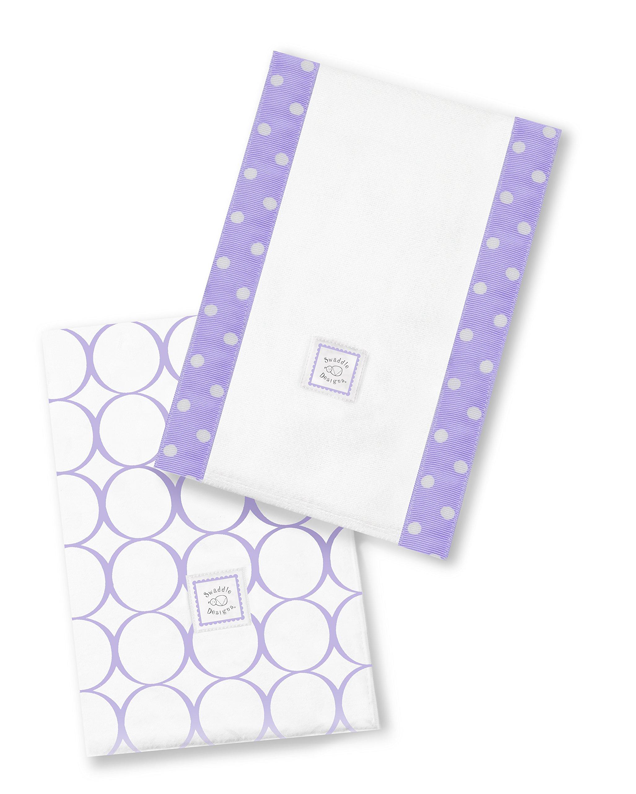 SwaddleDesigns Baby Burpies, Set of 2 Cotton Burp Cloths, Lavender Mod Circles