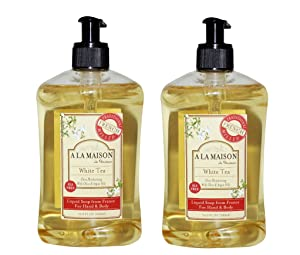 A La Maison de Provence White Tea Liquid Hand and Body Soap (Pack of 2) With Olive Oil, Argan Oil and Vitamin E, 16.9 fl. oz. Each