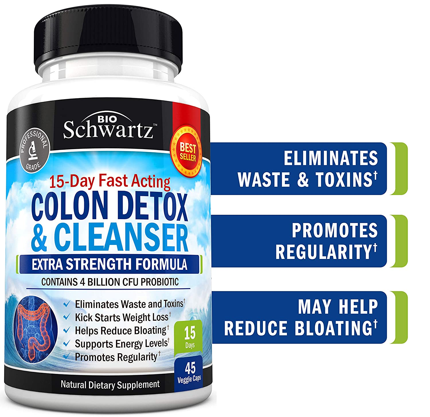 Colon Cleanser Detox for Weight Loss. 15 Day Extra Strength Detox Cleanse with Probiotic for Constipation Relief. Pure Colon Detox Pills for Men Women. Flush Toxins, Boost Energy. Safe Effective