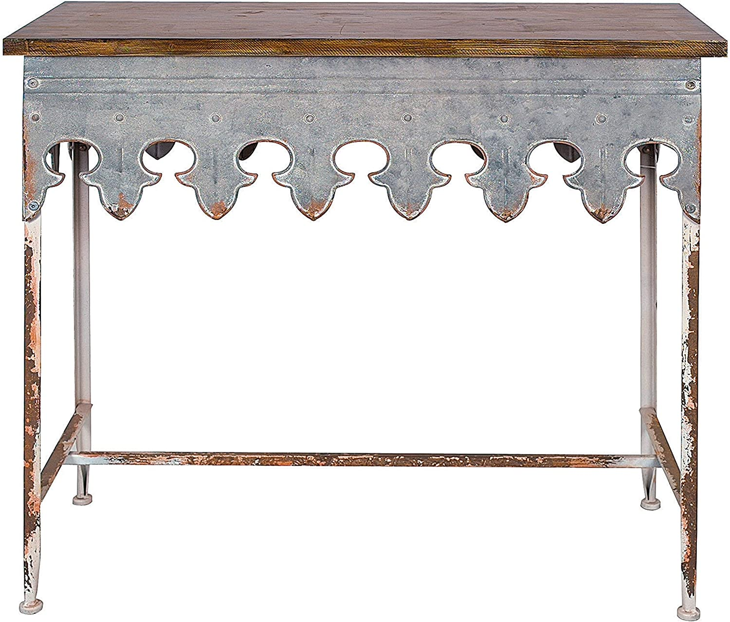 Galvanized distressed console table