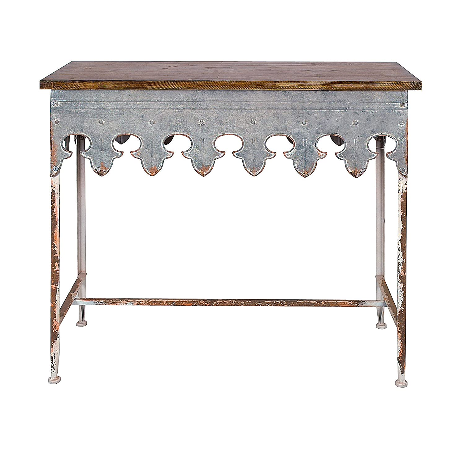 Farmhouse style rustic distressed zinc metal table with scalloped edge.