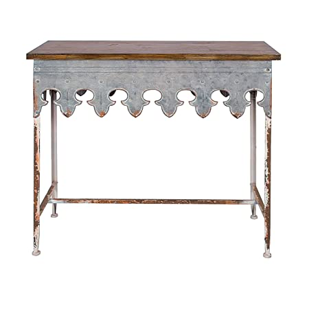 Creative Co-op DA2068 Metal Scalloped Edge Table with Wood Top, Distressed Zinc