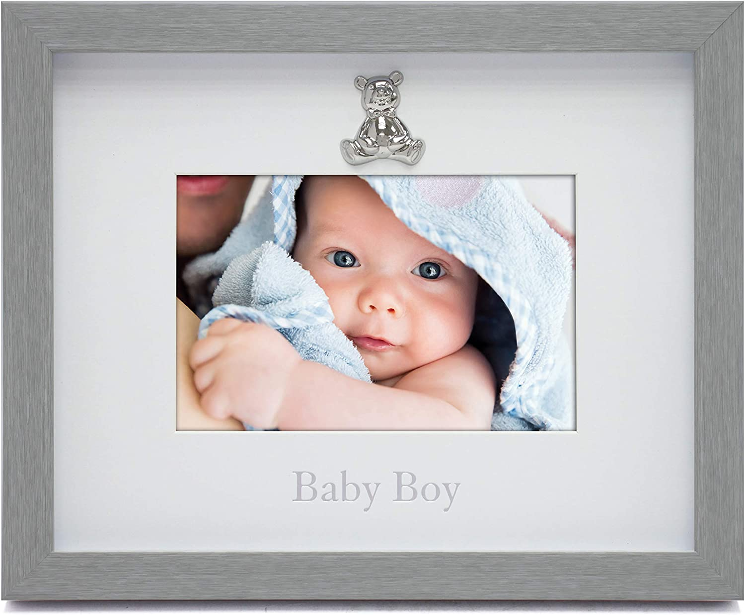 4x3, Silver - Baby Scan Metallic Silver and Brushed Satin Finish MIMOSA MOMENTS Ultrasound Clip Picture Frame