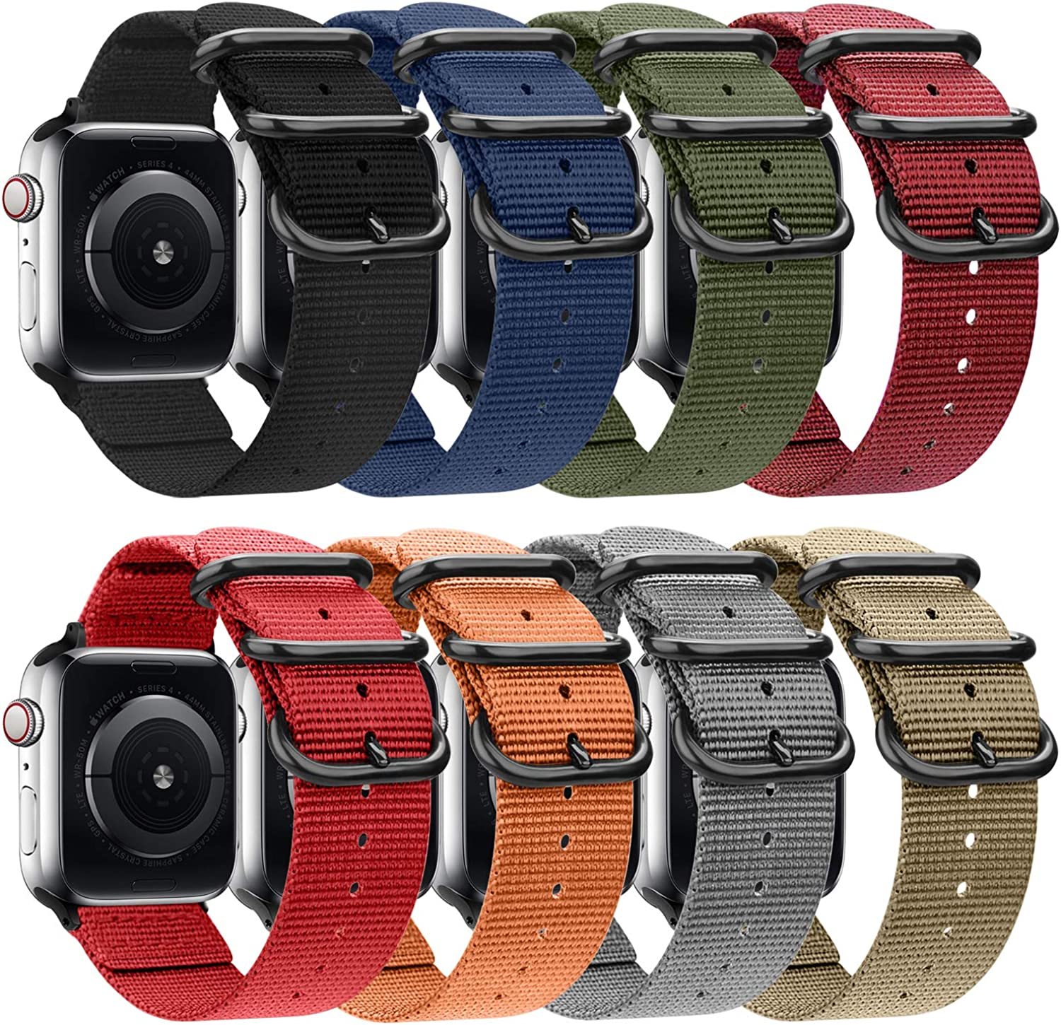 Nylon Band Compatible with Apple Watch Band 44mm 42mm 40mm 38mm, Lightweight Breathable Woven Nylon Sport Wrist Strap with Metal Buckle Compatible 6/5/4/3/2/1/SE