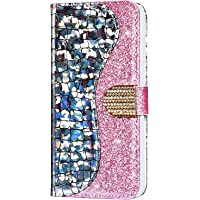 for iPhone 5 Case/iPhone 5S Case/iPhone SE Case Glitter Sequin Shockproof Protective Soft PU Leather Wallet Case with Card Slots Book Design Flip Cover[Magnetic closure] for iPhone 5/5S/SE,Silver