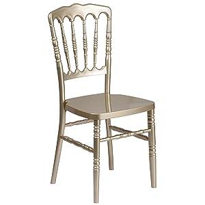 Flash Furniture HERCULES Series Gold Resin Stacking Napoleon Chair