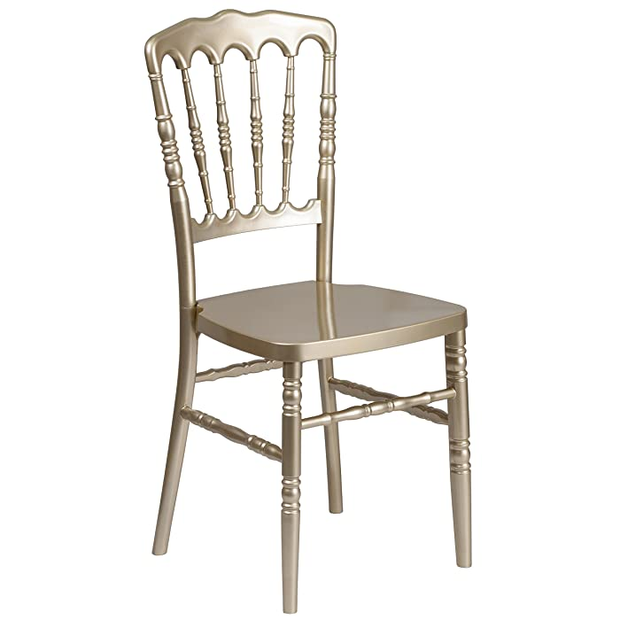 Flash Furniture HERCULES Series Gold Resin Stacking Napoleon Chair