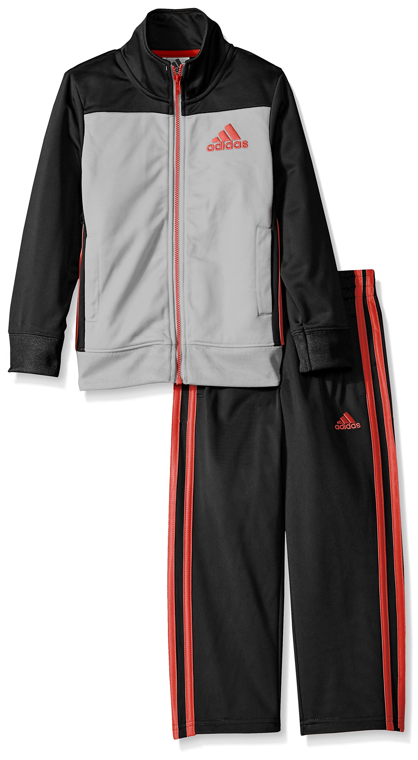 adidas Baby Boys' Tricot Zip Up Jacket and Pant Set, Onix, 6 Months