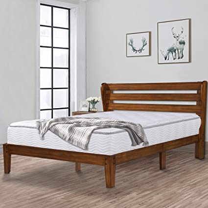 finest selection 3498e 80ad9 Ecos Living 14 Inch High Rustic Solid Wood Platform Bed Frame with  Headboard/No Box Spring/No Squeak (Brown, Queen)