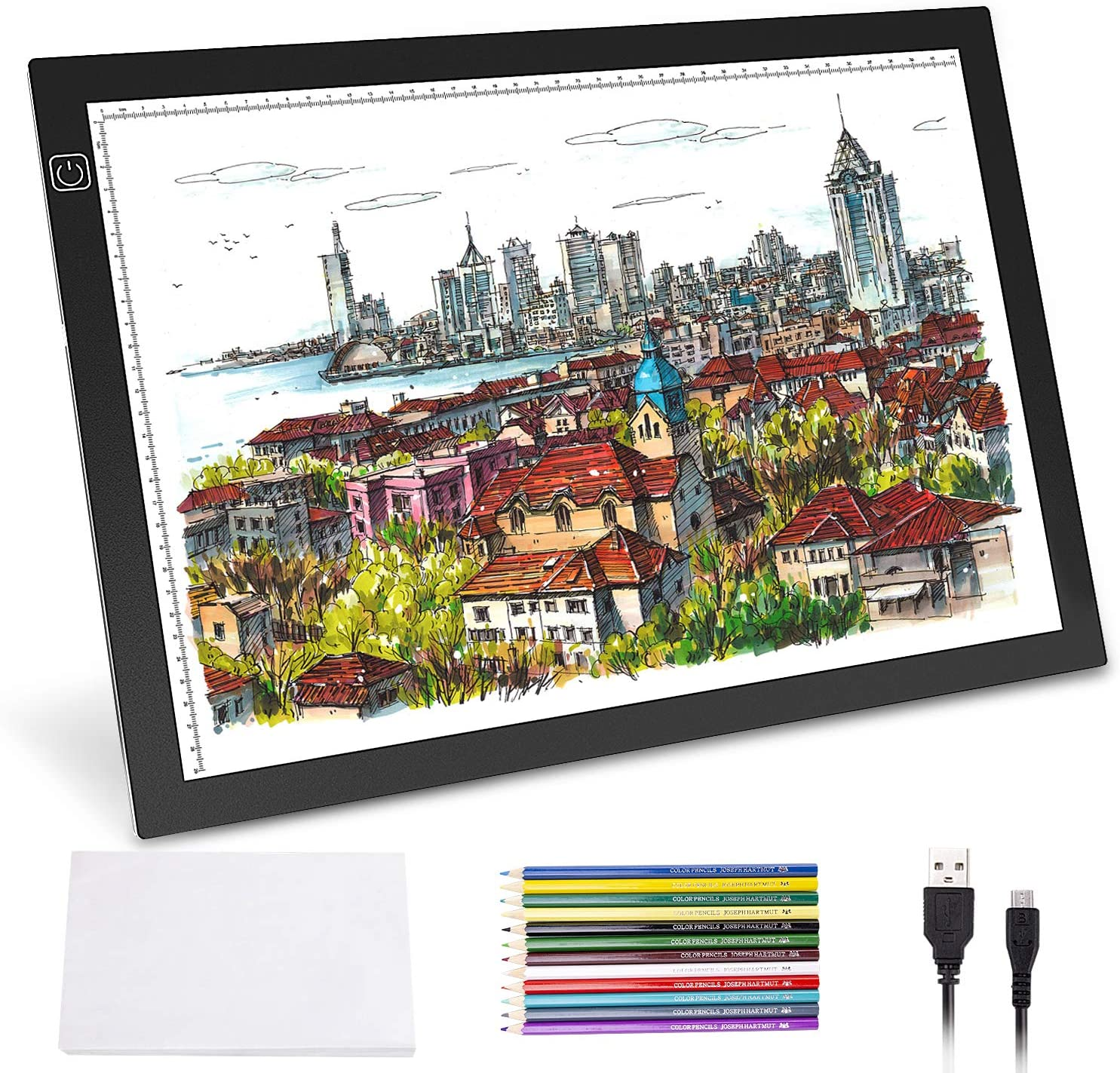 Animation Adjustable USB Power Light Box Tracer for Drawing Sketching Norbase Ultra-Thin Portable Tracing LED Copy Board Christmas Gift Stenciling A3 Light Pad Calligraphy with 12 Color Pencils